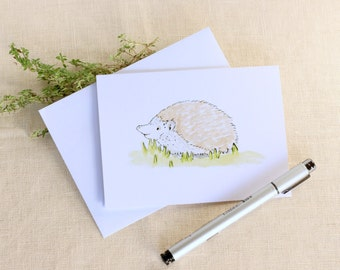 Single Note Card, Hedgehog Card, Baby Shower Card, New Baby Card, Blank Note Card, Watercolor Stationary, Birthday Card, Greeting Card
