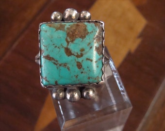 Vintage Chunky Native American handmade Sterling &  Turquoise  Ring Size 11