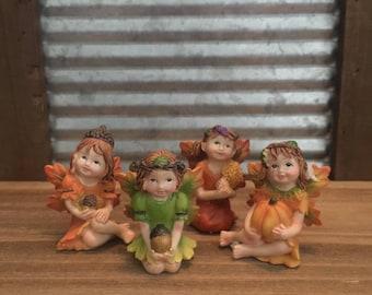 Fairy Garden | Little Girl Fall Fairies | Resin Figurine Statues | Pumpkins Acorns Leaves | Halloween Thanksgiving | Choose 1 from 4 Styles