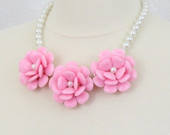 Pink Rose Statement Necklace Flower Bib Necklace Large Flower Necklace Big Three Flower Necklace Chunky Floral Necklace