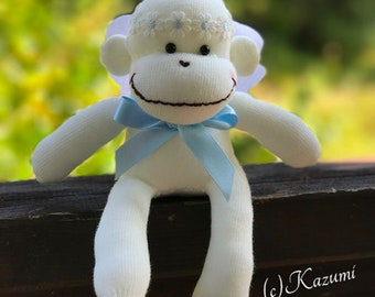 MADE-TO-ORDER Sock Monkey Angel(Boy) - Sock Monkey Doll, Angle Doll