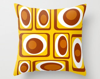 Mid Century Modern, Home Decor, Living Room Decor, Mid Century, Retro, Cushion, Bedroom Decor, Geometric, White, Pillows, Yellow, Brown