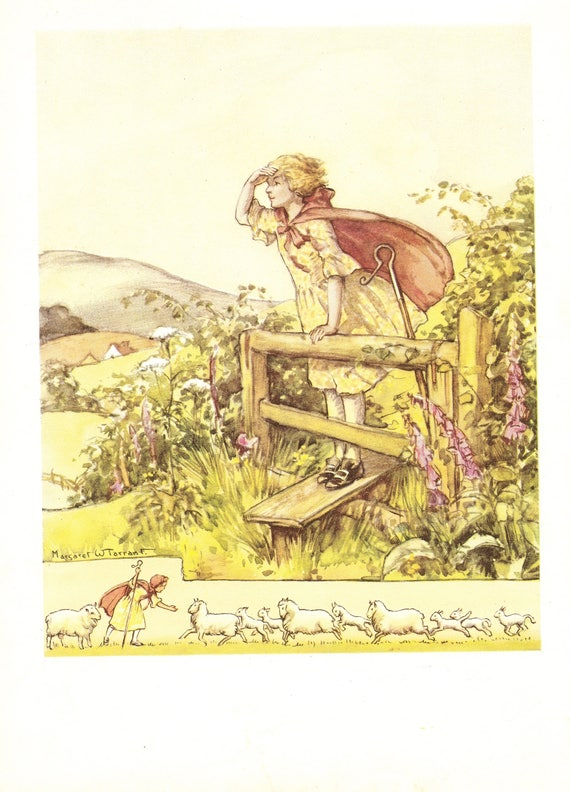 "Illustration of nursery rhyme ""Little Bo-Peep"" by Margaret Tarrant, 12 x 9 inches, 1950 book illustration"