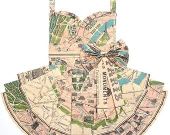 "PARIS in PINK Map Dress - CUSTOM Hand-Folded Map Dress - 18"" x 24"" - Choose your Style! - Nursery Wall Decor Art"