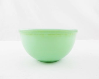 "Small 5"" Beaded Rim Bowl - Rimmed - Jadeite Green From 'Fire-King' - Bowl - Older 'Oven Ware Fire-King' Bowl - Shabby"