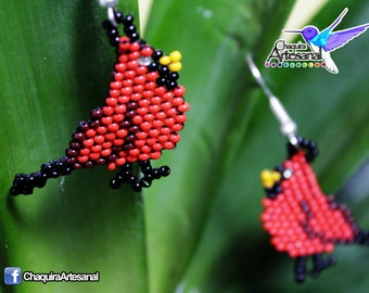 Cardinal bird earrings