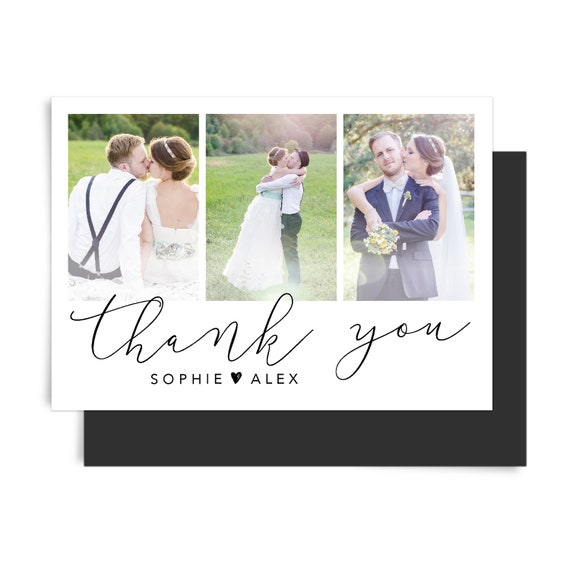 Thank you cards personalized, Wedding thank you fold card with photo, Thank you cards set, Thank you cards bulk, Printable stationary, A6