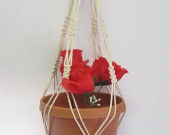 Macrame Plant Hanger Cotton Cord Vintage Style 30 inch Beige