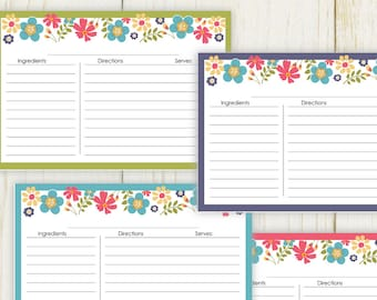 Floral 4x6 Recipe Cards - Printable -  No 889 - Lined