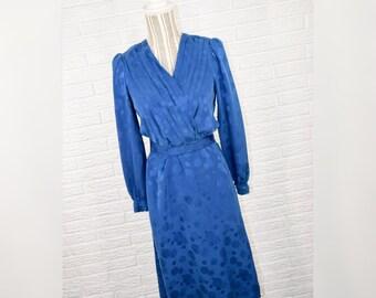 Vtg 80s Argenti for Casual Corner Blue Silk Dress