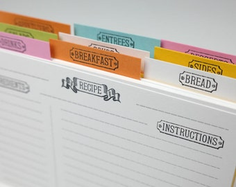 Letterpress Recipe Card Dividers - Set of 9