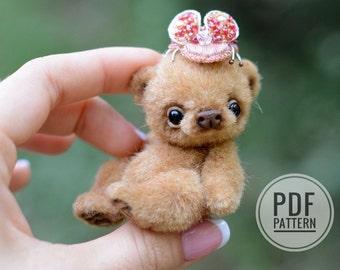 Sewing PATTERN PDF miniature teddy bear, by Tatiana Scalozub, Bestseller, how to make teddy bear step by step,  diy miniature teddy bear