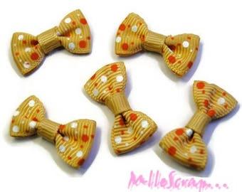 Set of 5 bow cream dark, orange, white embellishments scrapbooking card making *.