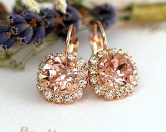 Blush Drop Earrings, Rose Gold Blush Drop Earrings, Morganite Earrings, Swarovski Drop Earrings, Bridesmaids Earrings, Pink Blush drops