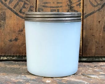 milk glass jar with lid ~ milk glass canister with screw top lid ~ Hazel Atlas glass ~ container jar~ glass jar with lid ~ farmhouse antique