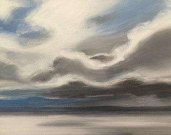 Puget Sound, Cloud painting, Storm clouds, storm art, landscape painting, sky painting, Pacific Northwest