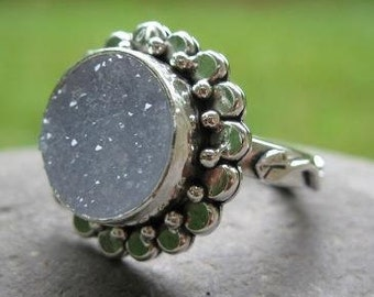 unique sterling silver and natural drusy stone ring . (( Sparkle Flower Ring )) . choose your stone . statement ring . large cocktail ring