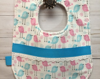 Baby Girl Bib with Little Song Bird