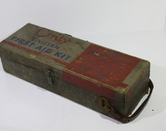 Vintage Curity Civilian First Aid Kit - Unusual -  WWII Bauer and Black