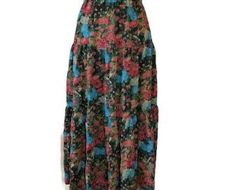 Spring long skirt 80s Vintage Floral Maxi Skirt boho skirt midi skirt high waist skirt flower skirt hippie skirt multicolored skirt Size L.