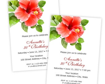 Red Hibiscus Tropical Flower Birthday Party Invitation - Printable Template - Instant Download - Editable Invitation - Microsoft Word Format