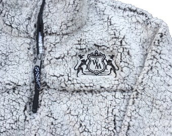Greyhound Crest Embroidered Sherpa Jacket, Sweatshirt (Sighthounds, Whippets, Galgos, lurchers)