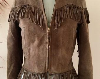 Vintage western suede fringe jacket
