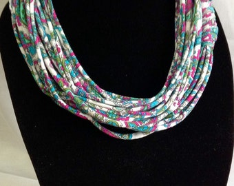 Jersey Knit Scarf Necklace, Fun Paisley