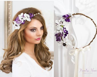 Bridal Flower Crown, Floral  Wedding Tiara Bridal flowers, Baby Breath Fairy Crown, Festival or Bridal Hair Wreath, Hair Flowers lilac