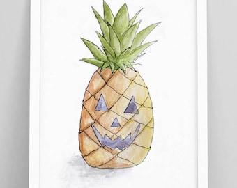 Pineapple Pumpkin - Halloween Decor - halloween sign - Pineapple Decor - jack o lantern - halloween sign - halloween sign door - Halloween