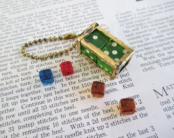 Vintage Dice in a Cage Key Chain and Mini Dice