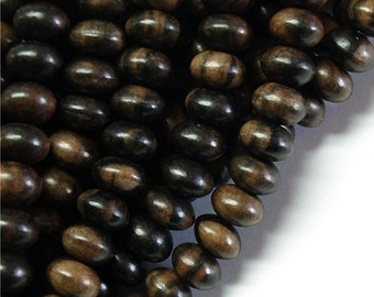 Wood Bead, Rondelle 6x10mm, Tiger Ebony - Three 16 Inch Strands (WDRN-10TE)