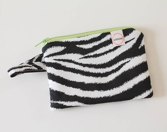 zebra zipper pouch, Minimalist pocket wallet, Change purse, cash wallet, mini zipper pouch, earbud case, wallet for mom, wild animal bag