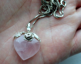 Pink Heart and Hand cut Sterling Silver Necklace - Rose Quartz