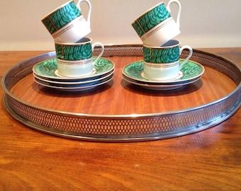 "Vintage Georges Briard ""Imperial Malachite"" Espresso Set, Svc for 4"