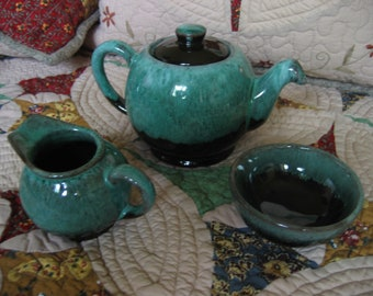 Vintage Evangeline Pottery Small Individual or Child's Tea Set Green drip glaze