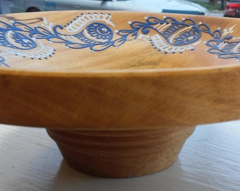 Hand Carved Wooden Bowl w/ Acrylic Henna Painting