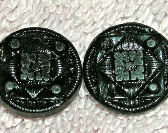 Antique Buttons, Victorian Black Glass, Set of 2, Mourning Buttons, Self Shank, Half Inch, Antique Supply, Collectible, Circa Mid 1800s