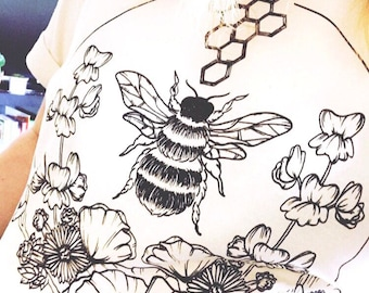 Save The Bees! Bee Conservation T-shirt - Floral Printed Digital Pollinators Bumble Cactus Flower Portion of Profits Donated Conservation