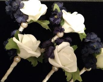 Navy White Gold Boutonniere