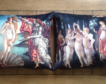 "sandro boticelli - set of 2: 14"" x 20"" velveteen pillow case  - primavera (1482) & the birth of venus (1486)"