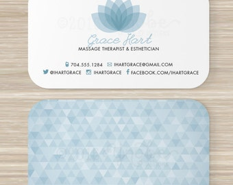 Esthetician business cards etsy spa massage therapist esthetician business card vistaprint 35 x 2 lotus flower geometric triangle pattern fbccfo Images