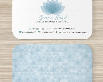 Esthetician business cards etsy spa massage therapist esthetician business card vistaprint 35 x 2 lotus flower geometric triangle pattern cheaphphosting Choice Image