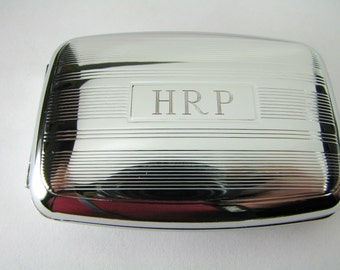 Personalized Pill Box Custom Engraved Stylish Linear Design Two Compartment -Hand Engraved