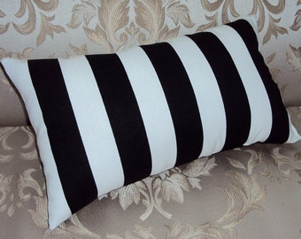 Black and White Stripe Decorative Lumbar Pillow Cover - Available In Several Sizes -BESTSELLER