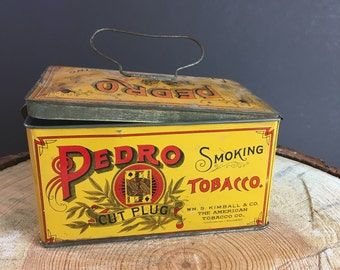 Pedro tobacco tin-vintage-luch pail style