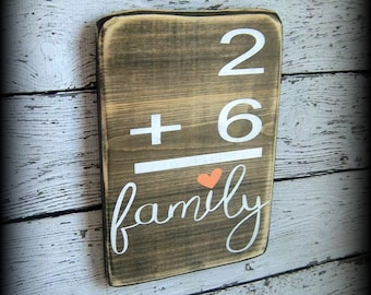 Family Number Sign,Flashcard Plaque,Custom Wood Decor,Math Sign,Gallery Wall Display,Personalized Wall Decor,Wood Word Art,Hand Painted Sign