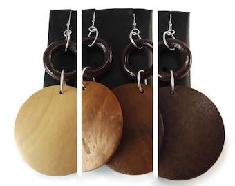Large Wood Disc Earrings Silver, Dark Brown Wood Hoop Earrings Jumbo Wood Beads, Two Tone Brown Wood Jewelry Boho Handmade Gifts for Her