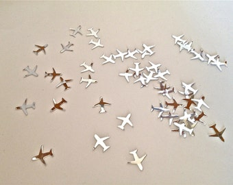 100 Small Shiny Silver Airplane Confetti - Paper Punch - Die Cut - Shiny Silver On One Side - Flat White On The Other Side