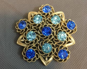 "Vintage Brooch / Pin Light & Dark Blue Faux Stones  gold metal 2 1/2"" diameter"